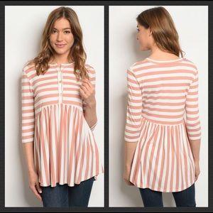 Tops - Blush Pink White Striped Top